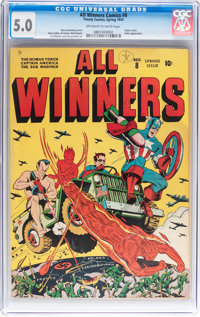All Winners Comics #8 (Timely, 1943) CGC VG/FN 5.0 Off-white to white pages