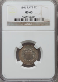 1866 5C Rays MS63 NGC. NGC Census: (282/741). PCGS Population (346/617). Mintage: 14,742,500. Numismedia Wsl. Price for...