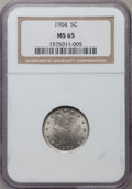 Liberty Nickels: , 1904 5C MS65 NGC. NGC Census: (130/70). PCGS Population (186/73).Mintage: 21,404,984. Numismedia Wsl. Price for problem fr...