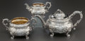 Silver Holloware, British:Holloware, A ROBERT GAINSFORD GEORGE IV SILVER TEA SERVICE . Robert Gainsford,Sheffield, England, circa 1826-1827. Marks: (lion passan... (Total:3 Items)