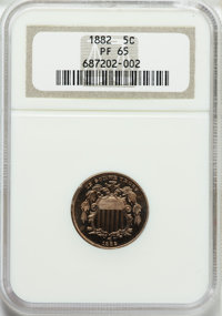 1882 5C PR65 NGC. NGC Census: (289/263). PCGS Population (299/233). Mintage: 3,100. Numismedia Wsl. Price for problem fr...