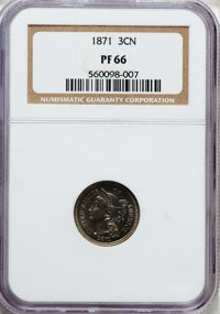 1871 3CN PR66 NGC. NGC Census: (34/8). PCGS Population (29/1). Mintage: 960. Numismedia Wsl. Price for problem free NGC/...