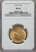 Indian Eagles: , 1914 $10 MS62 NGC. NGC Census: (755/419). PCGS Population(708/575). Mintage: 151,050. Numismedia Wsl. Price for problemfr...