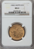 Indian Eagles: , 1908-D $10 Motto MS61 NGC. NGC Census: (182/221). PCGS Population(76/380). Mintage: 836,500. Numismedia Wsl. Price for pro...