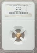 California Fractional Gold, 1859 25C Liberty Round 25 Cents, BG-801, R.3, MS66 NGC....