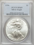 Modern Bullion Coins: , 1996 $1 Silver Eagle MS69 PCGS. PCGS Population (5095/0). NGCCensus: (88283/132). Mintage: 3,603,386. Numismedia Wsl. Pric...