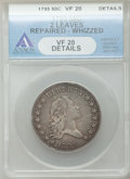 Early Half Dollars, 1795 50C 2 Leaves -- Repaired, Whizzed -- ANACS. VF20 Details.O-131, High R.4....