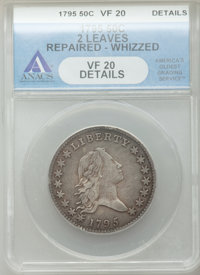 1795 50C 2 Leaves -- Repaired, Whizzed -- ANACS. VF20 Details. O-131, High R.4....(PCGS# 6052)