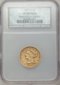 1851-C $5 -- Improperly Cleaned -- NCS. XF Details. Variety 1....(PCGS# 8247)
