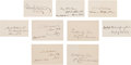 Autographs:U.S. Presidents, [Chester A. Arthur]. Group of Seven Signatures of Members ofPresident Chester Arthur's Cabinet.... (Total: 7 Items)