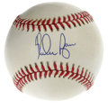 Autographs:Baseballs, Nolan Ryan Single Signed Baseball. The strikeout king himself hastagged this OAL (Brown) ball with a flawless blue ink swee...