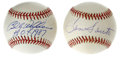 Autographs:Baseballs, Billy Williams and Ron Santo Single Signed Baseballs Lot of 2. Eachof these Chicago Cubs teammates has provided a blue ink...