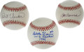 Autographs:Baseballs, Baseball Stars Single Signed Baseballs Lot of 3. Three singlesigned baseballs offered here have been signed by prominent f...(Total: 3 Items)