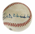 Autographs:Baseballs, Baseball Hall of Famers Multi-Signed Baseball. What better way tospruce up an ONL (Giamatti) baseball than to add a few HO...
