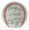 Autographs:Baseballs, Baseball Stars and Celebrities Multi-Signed Baseball. Fantasticassortment of celebrity signatures resides on the leather of...
