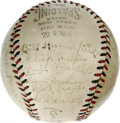 Autographs:Baseballs, Circa 1931 New York Giants Team Signed Baseball. Brown inksignatures from twenty-six members from the 1930-31 New York Gia...
