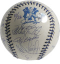 Autographs:Baseballs, 1998 New York Yankees Team Signed Baseball. Clean white collector'sedition OAL (Budig) baseball features blue stitching an...