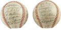 Autographs:Baseballs, 1955 New York Giants Team-Signed Baseballs Lot of 2. A pair of ONL(Giles) baseballs represent a team that changed very lit... (Total:2 Items)