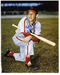 "Autographs:Photos, Stan Musial Signed Large Photograph. Terrific 16x20"" color image isinscribed, ""Best Wishes, Stan Musial"" in perfect blue s..."