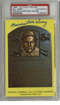 Autographs:Post Cards, Bill Terry Signed Gold Hall of Fame Plaque PSA Authentic. With a lofty lifetime average like .341 over fourteen years with ...