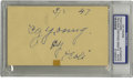 "Autographs:Post Cards, 1947 Cy Young Signed Postcard PSA Authentic. Dating from 1947, this3x5"" postcard has been given the honor of sporting a gi..."