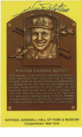 Autographs:Post Cards, Walter Alston Signed Gold Hall of Fame Plaque. Fine example of the Gold Hall of Fame Plaque postcard of the great manager ...