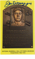Autographs:Post Cards, Joe DiMaggio Signed Hall of Fame Plaque. Amazing example of Joltin' Joe's unimprovable blue sharpie signature appears on th...