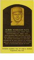 Autographs:Post Cards, Elmer Flick Signed Hall of Fame Plaque. While collecting the postcards that the National Baseball Hall of Fame releases to...