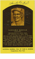 Autographs:Post Cards, Sandy Koufax Signed Gold Hall of Fame Plaque. From the man whoenjoyed one of the most dominant five-year stretch possible ...