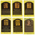 Autographs:Post Cards, Signed Gold Hall of Fame Plaques Lot of 39. Wonderful assortment of thirty-nine Hall of Fame signatures is presented here,...