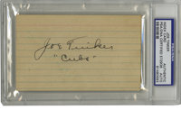 """Joe Tinker """"Cubs"""" Signed Index Card PSA Authentic. Ultra-rare signed index card in black fountain ink from the..."""