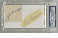 Autographs:Others, Ted Williams and Joe DiMaggio Cut Signatures PSA Authentic. What apair of Hall of Fame Legends! Here we find two contempo...