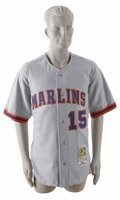 Baseball Collectibles:Uniforms, 2002 Kevin Millar Game-Worn Throwback Jersey. Fine example of the Florida Marlins grey away throwback jersey from the summer...