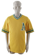 Baseball Collectibles:Uniforms, 2002 Greg Myers Game-Worn Throwback Jersey. Oakland backup catcherGreg Myers sported this yellow Oakland Athletics jersey ...