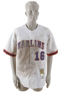 """Baseball Collectibles:Uniforms, 2002 Eric Owens Game-Worn Throwback Jersey. Fantastic jersey used in one of the Florida Marlins' """"Turn Back the Clock"""" game..."""