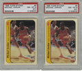 Basketball Cards:Lots, 1986-87 Fleer Sticker Michael Jordan #8 PSA NM-MT 8 (ST) Lot of 2.Provided here are two excellent representations of the g... (Total:2 cards)