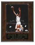 Autographs:Photos, Julius Erving Signed Photograph. Dr. J is a big part of the reasonthe game of basketball is played the way it is today, wi...
