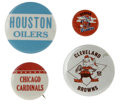 Football Collectibles:Others, 1950s-1970s Vintage Football Pins Lot of 4. Four classic pins from NFL teams of the 1950s-1970s, each in fantastic conditio... (Total: 4 Items)