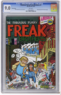 The Fabulous Furry Freak Brothers #1 ninth printing (Rip Off Press, 1971) CGC VF/NM 9.0 Pink pages. Manufactured with pi...