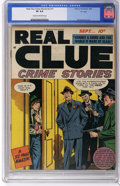 """Golden Age (1938-1955):Crime, Real Clue Crime Stories V3#7 """"D"""" Copy pedigree (Hillman Fall, 1948)CGC VF 8.0 Cream to off-white pages. Far and away the hi..."""
