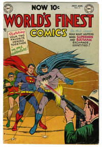 World's Finest Comics #71 (DC, 1954) Condition: VG/FN. Superman and Batman begin as a team. First 10¢ issue; consid...
