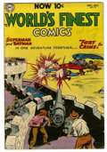 "Golden Age (1938-1955):Superhero, World's Finest Comics #72 (DC, 1954) Condition: VG+. Curt Swan cover and art. Considered ""scarce"" by Overstreet. Overstreet ..."