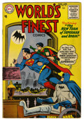 Golden Age (1938-1955):Superhero, World's Finest Comics #75 (DC, 1955) Condition: VG/FN. First code approved issue. Curt Swan cover. Swan and George Papp art....