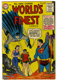 "World's Finest Comics #77 (DC, 1955) Condition: VG. Curt Swan Superman cover and art. Fred Ray art. Batman becomes ""..."
