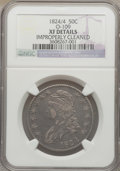 Bust Half Dollars, 1824/4 50C -- Improperly Cleaned -- NGC Details. XF. O-109. NGCCensus: (10/97). PCGS Population (19/104)....