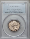 Washington Quarters, 1932-D 25C MS63 PCGS....