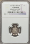 Seated Dimes: , 1837 10C No Stars, Large Date -- Obv Scratched -- NGC Details. VF. NGC Census: (2/408). PCGS Population (9/386). Mintage: 6...