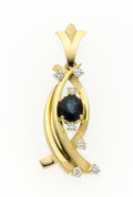 Estate Jewelry:Pendants and Lockets, Sapphire, Diamond, Gold Pendant. ...