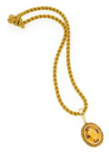 Estate Jewelry:Necklaces, Citrine, Gold, Cord Necklace. ...