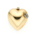 Estate Jewelry:Pendants and Lockets, Diamond, Gold Heart Pendant. ...